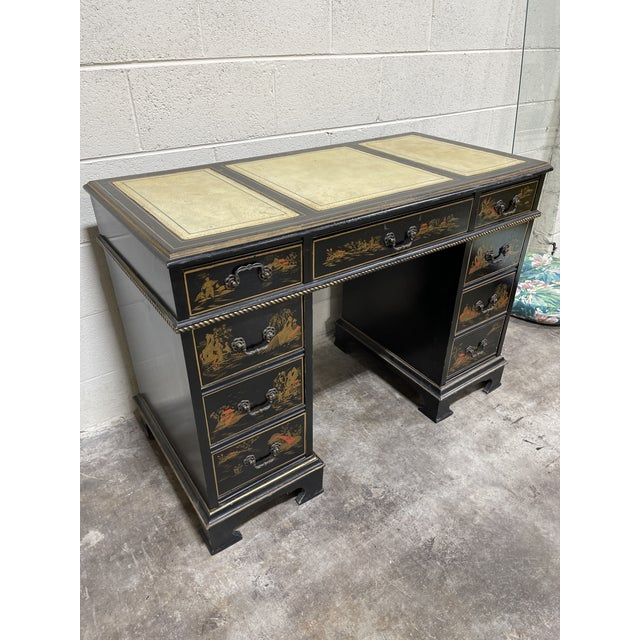 Chinoiserie Chinoiserie Leather Too Writing Desk For Sale - Image 3 of 13