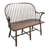 Image of Frederick Duckloe Windsor Walnut Bench For Sale