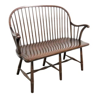 Frederick Duckloe Windsor Walnut Bench For Sale