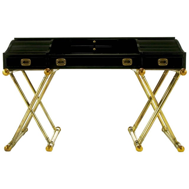 Wood Black Lacquer Brass Faux Bamboo Base Campaign Secretary Roll Top Style Desk For Sale - Image 7 of 7