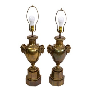 American 1972 Chapman Iconic, Art Deco Rams Head Bronze Urn Table Lamp - a Pair For Sale