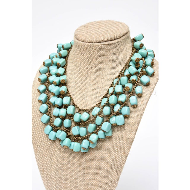 Metal Miriam Haskell Turquoise Glass Bead and Metal Bib Necklace Vintage For Sale - Image 7 of 9