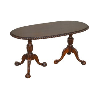 Chippendale Style Custom Mahogany Ball & Claw Rope Edge Oval Coffee Table For Sale