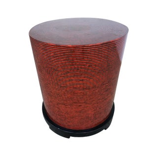 Two-Tone Cubist Style Round Side Table For Sale