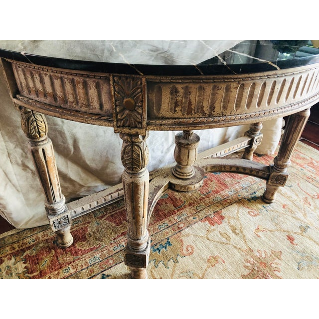 French Country Painted Demi-Lune Table For Sale - Image 6 of 7