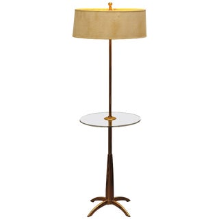 Brass and Acrylic Stiffel Mid-Century Modern Floor Lamp For Sale