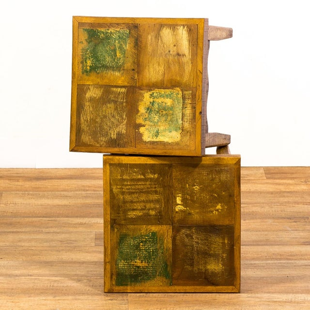 Reclaimed Wood Stools - a Pair For Sale - Image 4 of 6
