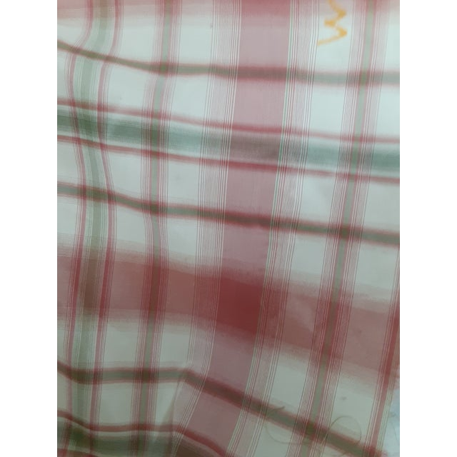 Pindler and Pindler Designer Silk Infused Woven Raspberry Pink and Light Green on Cream Woven Plaid - 10 Yards For Sale In Miami - Image 6 of 11