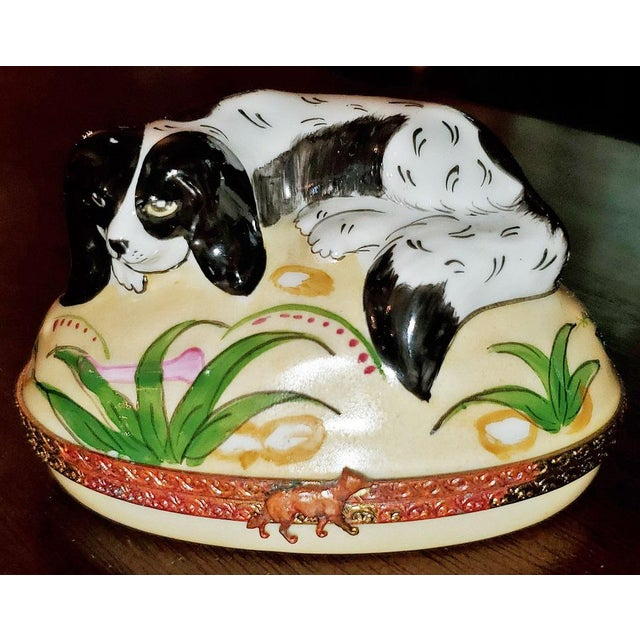 Metal Vintage Limoges King Charles Spaniel Ring Box For Sale - Image 7 of 13