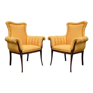 Pair of Vintage Hollywood Regency French Style Carved Fireside Lounge Arm Chairs