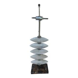 Deco Alabaster Design Marble Base Double Socket Lamp For Sale