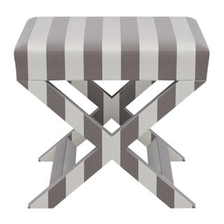 X Bench in Taupe Cabana Stripe For Sale