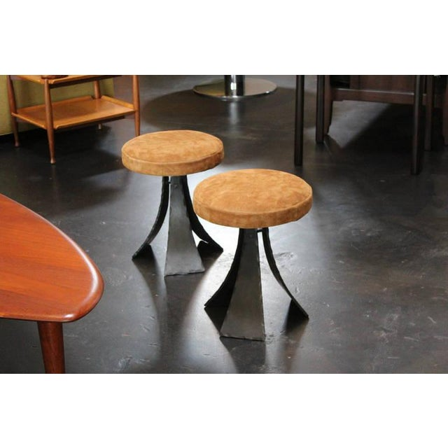 Tan Pair of Forged Steel Stools Designed by John Baldasare For Sale - Image 8 of 10