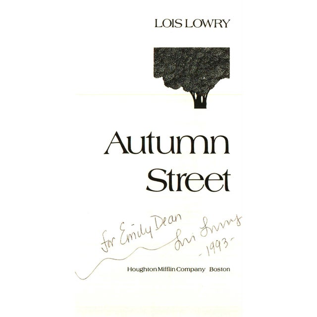 Autumn Street by Lois Lowry. Boston: Houghton Mifflin Company, 1980. Signed. 188 pages. Hardcover with dust jacket.
