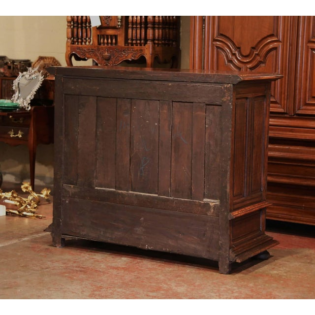 19th Century Italian Carved Walnut Two-Door Buffet Cabinet With Bottom Drawer For Sale - Image 12 of 13