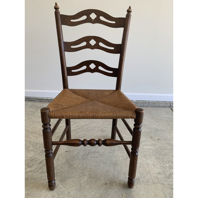 Textile Early 20th Century French Country Carved Pierced Ladder Back Chair With Rush Seat For Sale - Image 7 of 7