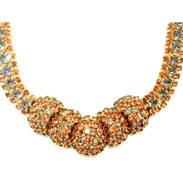 Contemporary 1950's Vintage Joseph Warner Gold & Swarovski Crystal Necklace and Earrings - Set of 3 For Sale - Image 3 of 12