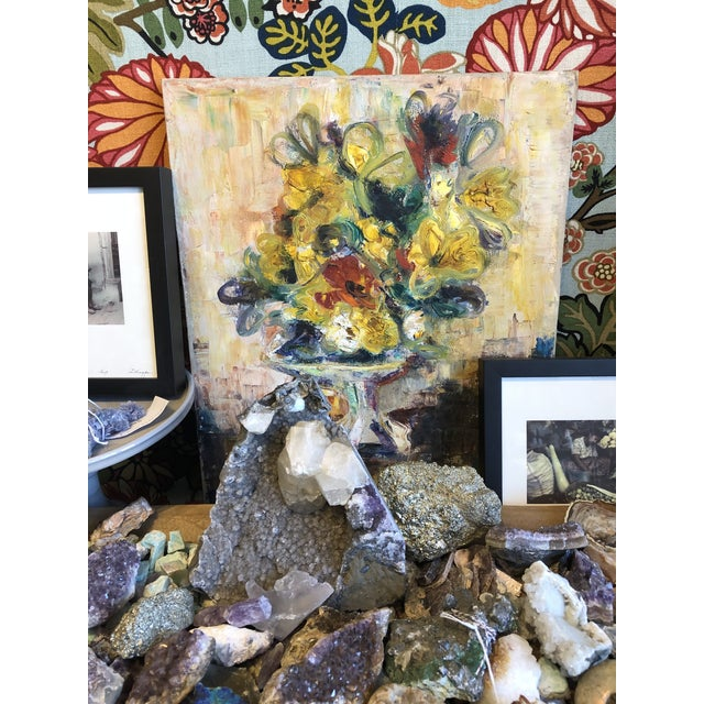 Yellow Floral Still Life Painting For Sale - Image 4 of 5