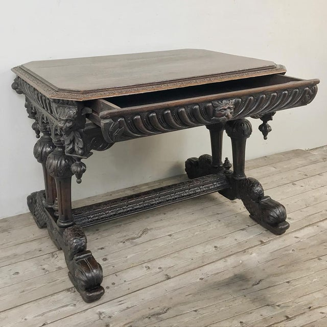 Mid 19th Century 19th Century French Renaissance Writing Table For Sale - Image 5 of 13