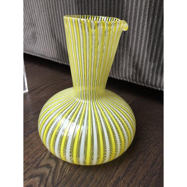 Yellow 1970s Hollywood Regency Citron Fratelli Toso Murano Glass Latticino Filigrana Decanter For Sale - Image 8 of 8