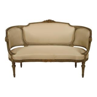 French Louis XVI Cushioned Loveseat For Sale