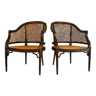 1970s Vintage Bamboo Club Chairs- a Pair For Sale