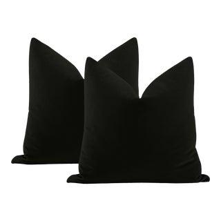"""22"""" Noir Italian Velvet Pillows - a Pair For Sale"""