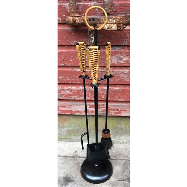Beautiful set of vintage c.1950's mid century modern wrought iron and wicker fireplace tools! They are really a wonderful...