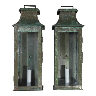 Pair of Wall Hanging Copper Lanterns For Sale