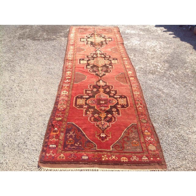 """1940s Vintage Hand Knotted Anatolian Rug - 4'2"""" x 13'5"""" - Image 2 of 8"""
