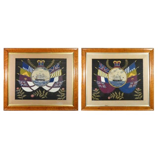British Sailor's Woolwork Pictures or Woolies With Ship and Flags - A Pair For Sale
