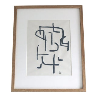 Indigo on Paper Study 4 Contemporary Framed Painting For Sale