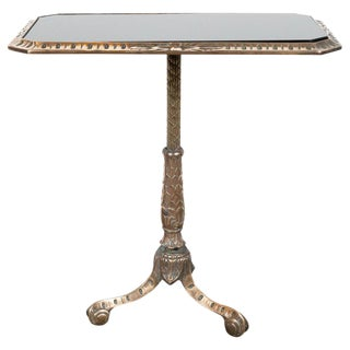 Art Deco Antique Brass Side Table With Inset Black Vitrolite Top For Sale