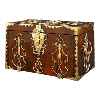 18th Century British Brass Mounted Strong Box For Sale