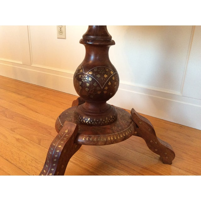 Vintage Carved Wood Brass & Copper Inlaid Pedestal Table For Sale In New York - Image 6 of 8
