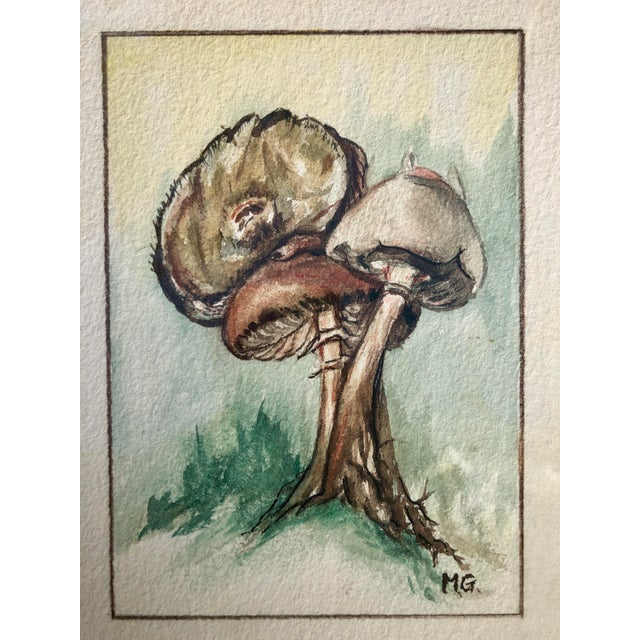 Abstract Expressionism Framed Original Mushroom Watercolor Paintings - a Pair For Sale - Image 3 of 7