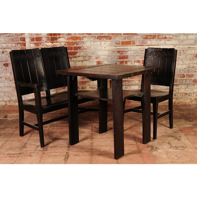 """Original Arts & Crafts """"dark oak"""" breakfast table with matching chair & settee by Michigan Chair Co., rare set circa..."""