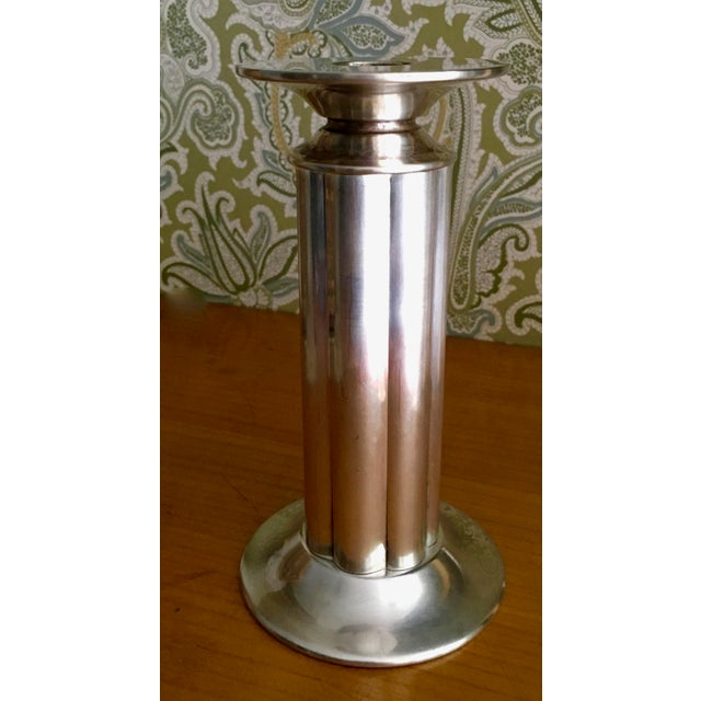 Mid-Century Modern Mid-Century Modern Robert a.m. Stern for Swid Powell Silver Plated Candlestick For Sale - Image 3 of 5