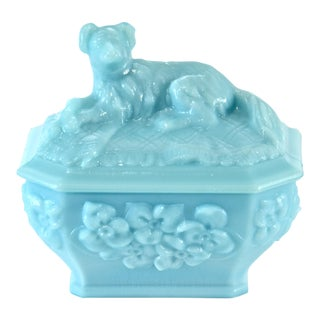 Antique Blue French Opaline Glass Dog Sucrier Box