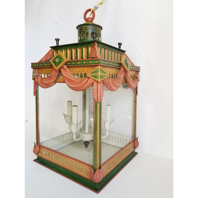 French Large Highly Decorative Painted Tole Lantern For Sale - Image 3 of 13