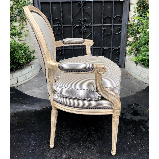 Early 20th Century Pair of Louis XV Style Balloon Back Arm Chairs W Silk Down Cushions For Sale - Image 5 of 6