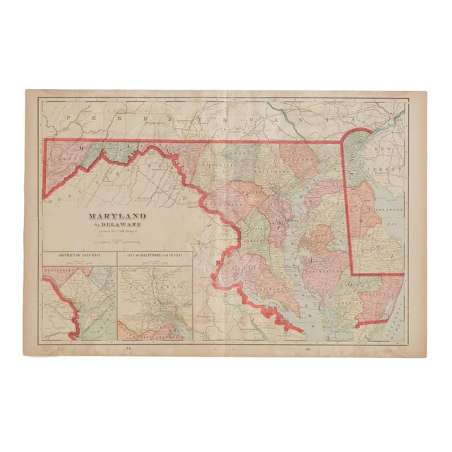 Antique White Cram's 1907 Map of Maryland For Sale - Image 8 of 8