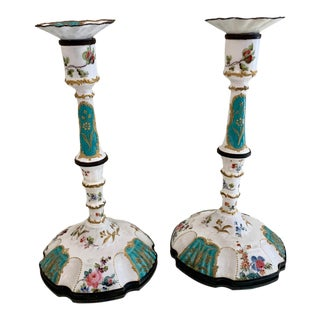18th Century Battersea Enamel Candlesticks - a Pair For Sale