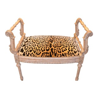 Antique Shabby Chic Victorian Style Carved Bench With Scroll Arms Newly Upholstred in High End Cheetah Print Velvet For Sale