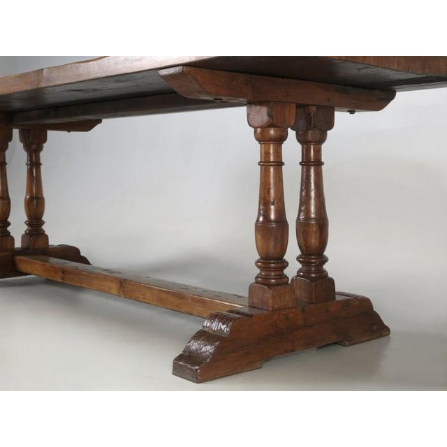 Antique French White Oak Trestle Table C. 1880 For Sale - Image 10 of 13