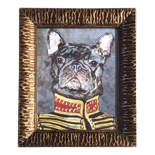 """French Bull Dog Print by Contemporary Artist Judy Henn """"Military Frenchie """" For Sale"""