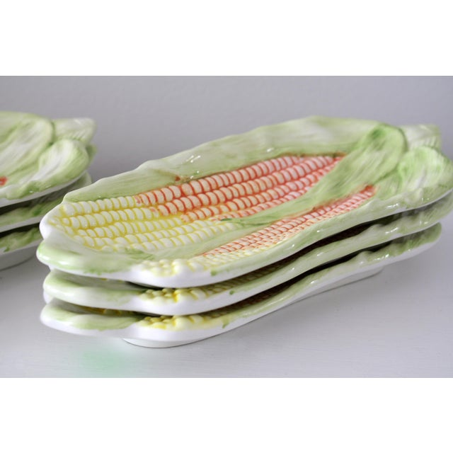 Green Vintage Italy Majolica Corn on the Cob Dishes - Set of 6 For Sale - Image 8 of 13