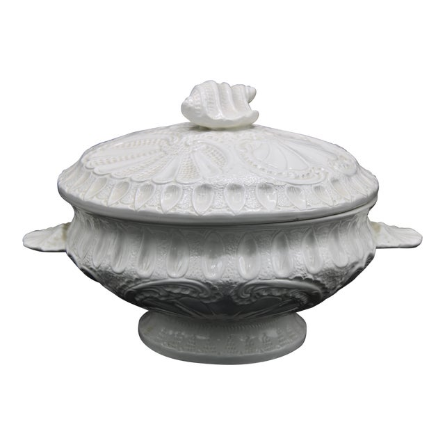 Large Italian Creamware Lidded Tureen With Ladle For Sale