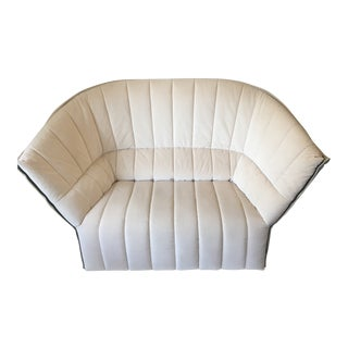 Ligne Roset Moel Loveseat in Cream Velvet and Leather For Sale