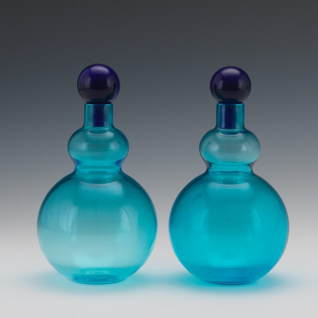 Glass Vintage Mid Century Salviati, Murano, Italian Art Glass Decanters- A Pair For Sale - Image 7 of 8